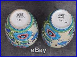 Paire De Vases Céramique Keramis Frères Boch Catteau Décors Fleurs Art Deco
