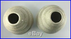 Paire De Vases Craqueles Art Deco Geometrique Pied Douche Hauteur 30 CM H726