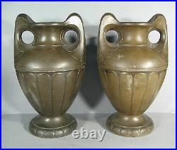 Paire De Vases En Régule Epoque 1900 / Vase Style Art Nouveau / Amphore 1900