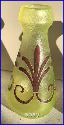 Paire De Vases Ouraline Uranium Art Deco Géométrique Acide Legras Montjoye