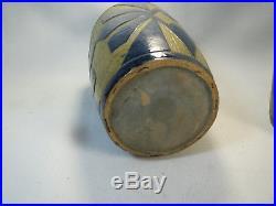 Paire Vase Ancien Ceramique Vintage Art Deco Peysson Email Blin Capron Jouve