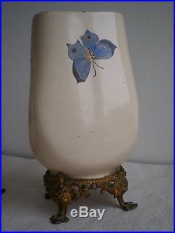 Paire Vases Ceramique Art Nouveau Japonisante Bronze Dore Deco Luneville Galle