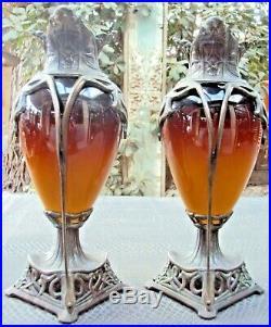 Paire d'anciens vases art-nouveau art-déco en étain et céramique début 20 ème