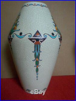 Paire de grands vases émaux- ORCHIES (Nord) Moulin des Loups- Art Déco -1930