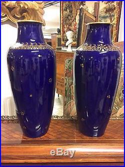 Paire de grands vases porcelaine Sèvres 1930 Art-Déco