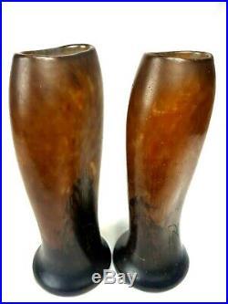 Paire de vase art déco Daum à la croix de Lorraine en pâte de verre nuagée 25 cm