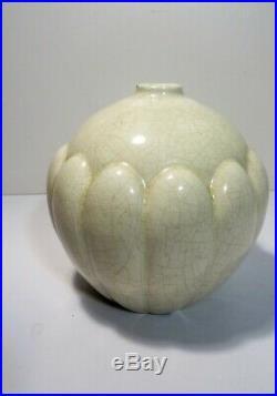 Paire de vase boule St Clément céramique craquelée Art déco