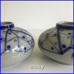 Paire de vase en grès signé Francois Roger Céramique Malicorne Art Déco 1930
