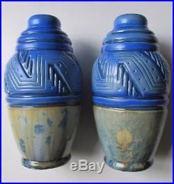 Paire de vases ART DÉCO GRÈS MOUGIN NANCY cristallisation skyscraper 1930