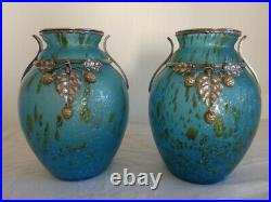 Paire de vases Art Déco 1920-1930 verre et bronze argenté et doré