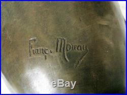 Paire de vases Art Déco authentiques signés François MOREAU en métal d'art