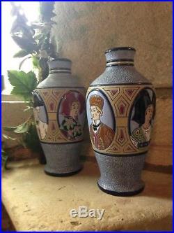 Paire de vases Imperial Amphora Emile Laget émaux cloisonnés années 30 Art Déco