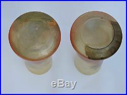 Paire de vases art déco Nancy Legras verre émaillé pêcheur en barque 28 cm