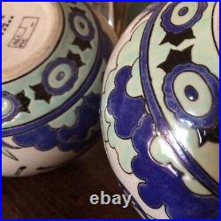 Paire de vases art deco, céramique Craquelée DLGcatteau Chevalier, la Louviére