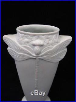 Paire de vases aux libellules signés Christofle porcelaine époque art déco