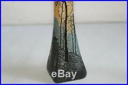 Paire de vases en pâte de verre signés LEGRAS, décors dégagés à l'acide
