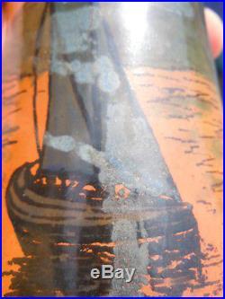 Paire de vases peint décor voiliers Legras époque Art Nouveau