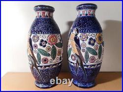 Paire vase style art déco Amphora Tchecoslovaquie ceramique faïence émaillée