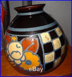 Paul Jacquet Savoie vase boule art déco aux fleurs et damier