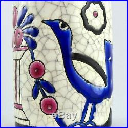 Petit VASE Faïence EMAUX DE LONGWY Céramique Craquelé PRIMAVERA Art Déco 1930