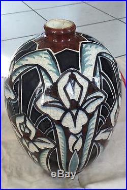 Piece Unique Vase Art Déco Signé Raoul Lachenal À Décor D'iris Somptueux