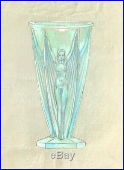 Pierre D'AVESN Dessin original Crayon et Gouache Projet de Vase 15