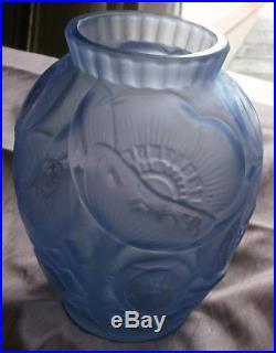 Pierre D' AVESN Vase verre pressé moulé Art déco Années 30 Modèle fleur de PAVOT