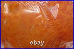 Pierre D´Avesn French Art Deco Fish Vase Poisson couleur rare 27 cm x 27 cm