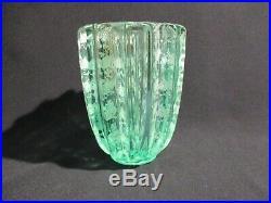 Pierre D'avesn Ancien Vase En Verre Vert Givre Art Deco Green Vase Glass