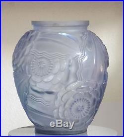 Pierre D'avesn France Vase Bleu En Verre Soufflé Moulé Dépoli Art Déco 1920/30