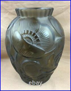 Pierre D'avesn Superbe Vase En Pâte de Cristal Moulé Art Déco Pavot Coquelicots