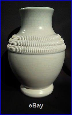 Pol Chambost, superbe ancien vase Art-déco intérieur turquoise