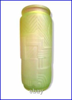 RARE Superbe Vase Versailles 1920 LEGRAS Art Déco 26cm Ouraline Uranium Vaseline