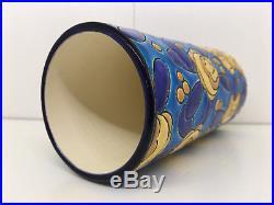 RARE Vase Rouleau Emaux de Longwy Art-Déco! A voir! Top état! H 16,5 cm
