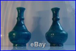 Raoul Lachenal (1885-1956). Paire Vases Signés d'époque Art Déco Bleu Egyptien