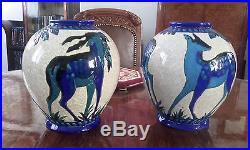 Rare Art Deco Paire Vases Charles Catteau Keramis Boch La Louviére Emaux