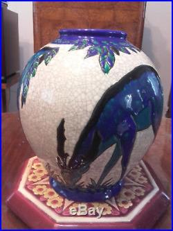 Rare Art Deco Vase Charles Catteau Keramis Boch La Louviére Emaux 1920 1930