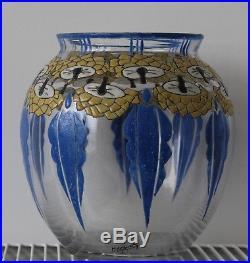 Rare Beau Vase Art Deco Verre Emaille Signe Mazoyer