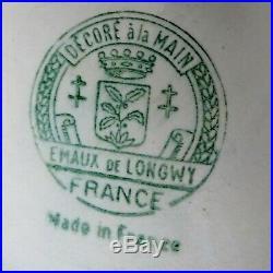 Rare! Emaux de Longwy Grand Cache-pot Vase Turquoise Décor Fleurs Art Deco 1930