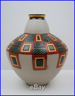Rare Grand Vase Art Deco Verre granité émaillé Maison Leune circa 1925 H. 30cm