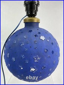 Rare Lampe Boule Art Deco Rene Lalique Patine Bleue Etoiles No Vase