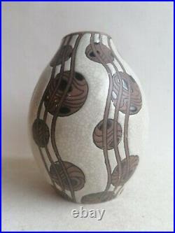 Rare Superbe Vase Gres Keramis Art Deco Charles Catteau Boch F La Louviere D. 769