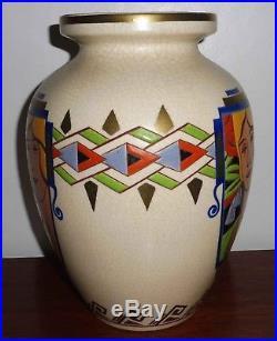 Rare Tres Grand Vase Emaux Orchies Moulin Des Loups 1930 Art Deco