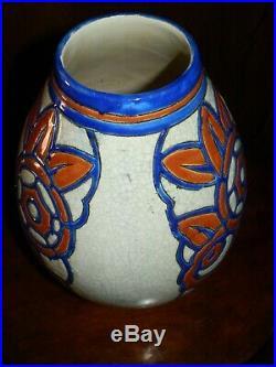 Rare Vase Art Deco Emaux Catteau Boch Keramis