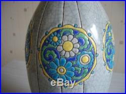 Rare Vase Art Deco En Emaux De Longwy
