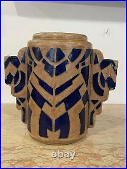 Rare Vase Art Deco Rene Olichon Odetta Quimper Hauteur 25,5 Cm