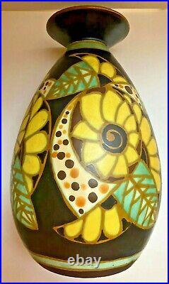 Rare Vase Charles Catteau Leon Lambilotte Bosch Freres Keramis D1084 Art Deco