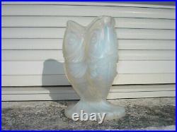 Rare Vase ETLING aux 3 POISSONS verre opalescent ART DECO 1930