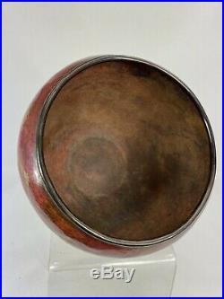 Rare Vase Sur Pied Claudius Linossier Dinanderie Art Deco Signe