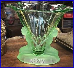 Rare Vase Walther & Söhne Uranium Glass Windsor Art Deco